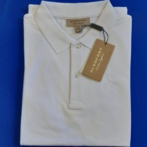 BURBERRY LONDON MEN WHITE CLASSIC SOLID POLO SHIRT